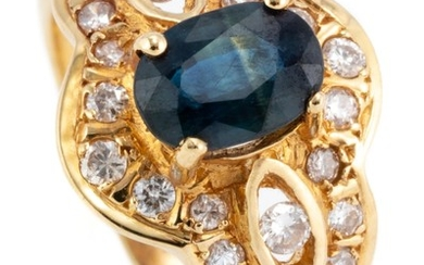 AN 18CT GOLD SAPPHIRE AND DIAMOND RING; centring an approx. 1.00ct blue oval sapphire to surround and open shoulders set with 22 rou...