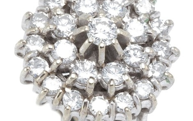 AN 18CT WHITE GOLD DIAMOND CLUSTER RING; centring a round brilliant cut diamond of approx. 0.14ct claw set above a double surround o...