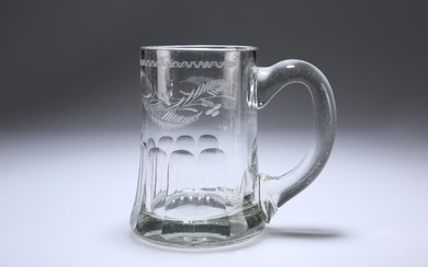 AN ENGLISH GLASS ALE TANKARD, 19TH CENTURY, engraved