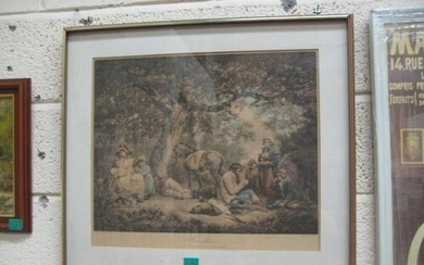 "After Geo Morland ""Travellers"" Engraving by W. Ward - 19th C..."