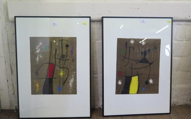 After Jean Miro A pair of abstracts reproductions after prin...