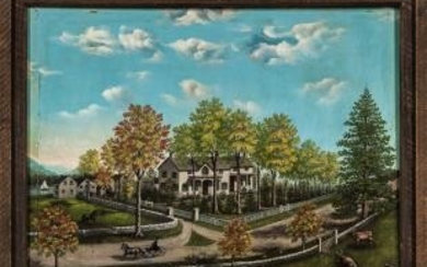 American School, 19th Century Portrait of a House with a Fenced Yard, Probably Upstate New York