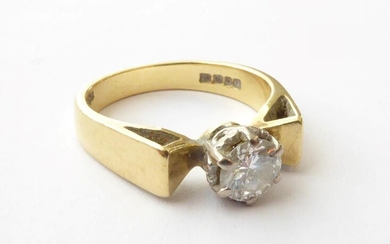 An 18 Carat Gold Diamond Solitaire Ring, finger size K...