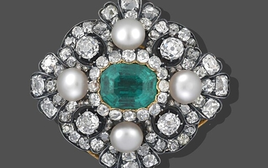 An Emerald, Pearl and Diamond Brooch, the emerald-cut emerald within...