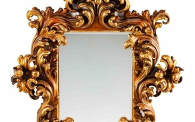 An Italian Rococo Style Carved Giltwood Mirror Height