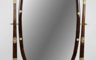 An early 20th century mahogany ormolu mounted French Empire style cheval mirror.