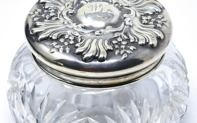 Antique 19th C Sterling Silver Crystal Vanity Box