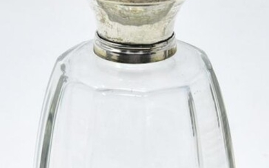 Antique 800 Silver Lid & Art Glass Perfume Bottle