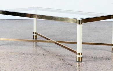 BRASS GLASS COFFEE TABLE X-FORM STRUCTURE C.1970