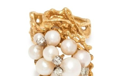 BRUTALIST, CULTURED PEARL AND DIAMOND RING