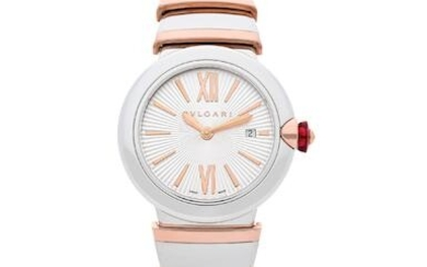BVLGARI | LVCEA, A New Old Stock STAINLESS STEEL AND PINK GOLD BRACELET WATCH WITH DATE, CIRCA 2019