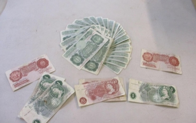 British bank notes to include forty two WWII era pound notes...