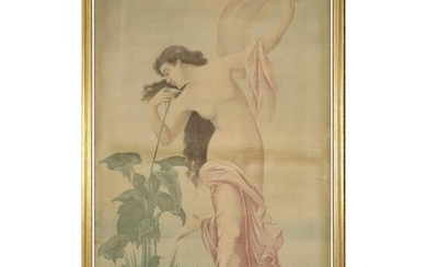 C. 1920 Painting on Fabric Art Nouveau Semi Nude Woman