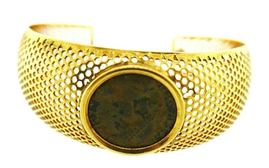 CHIC Vintage Italian 18k Yellow Gold Mesh Ancient Coin