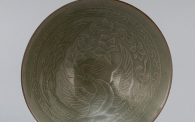 """CHINESE LONGQUAN-STYLE CELADON PORCELAIN BOWL Incised phoenix decoration. Height 2"""". Diameter 6""""."""