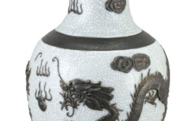 CHINESE WHITE CRACKLEWARE PORCELAIN VASE In baluster form, with iron glaze banded decoration around the shoulder and foot, and molde...