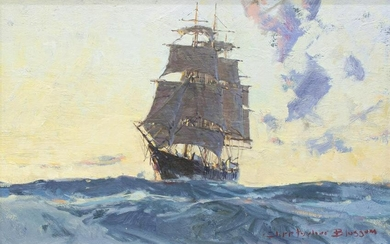 CHRISTOPHER BLOSSOM (B.1956) SHIP OIL PAINTING