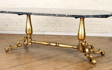 CONTINENTAL GILT IRON MARBLE TOP TABLE C.1950