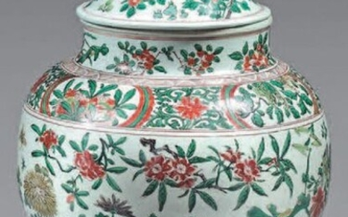 China porcelain vase and lid. 17th century. Decorated