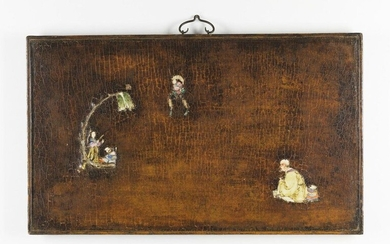 Chinese Art. A wooden lacquered panel decorated with porcelain figures China, Qing dynasty, 18th century . Cm 83,00 x 49,00.