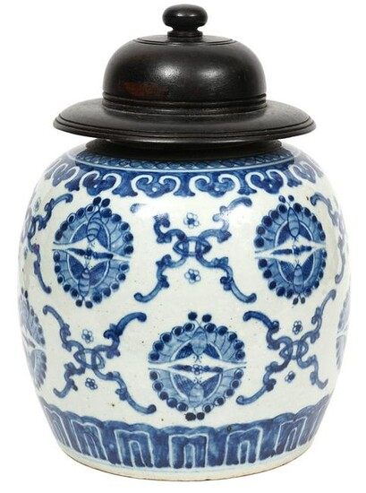 Chinese Blue & White Porcelain Jar with Wood Lid