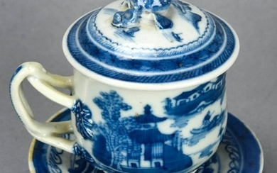 Chinese Canton Blue & White Porcelain Pudding Cup