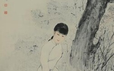 Chinese Painting of Lady by Li Lingjia