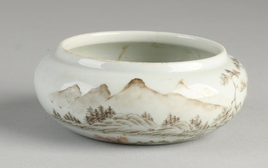 Chinese porcelain Family Rose water bowl with landscape
