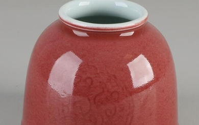 Chinese porcelain jar with cranberry-colored glaze +
