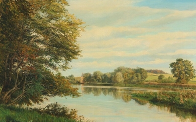 Christian Zacho: Summer landscape with manor house. Signed and dated Chr. Zacho, 1900. Oil on canvas. 59.5×83 cm.