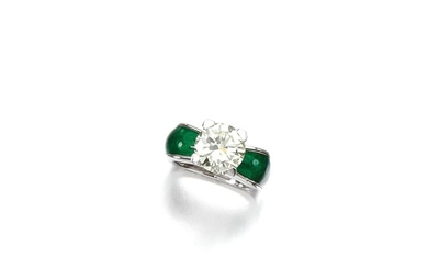DIAMOND AND ENAMEL RING