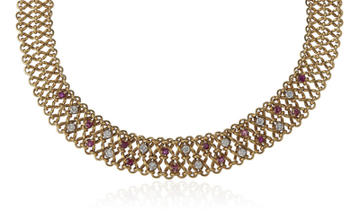 DIAMOND, RUBY AND GOLD NECKLACE