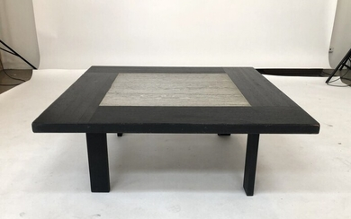 Danish design: A blackstained oak coffee table, top with greyish marble. H. 45. L. 116....
