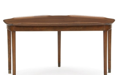 Danish furniture design: Coffee table of stained beech, top of nut wood with partly raised edges. H. 60 cm. L. 118 cm. W. 61 cm.