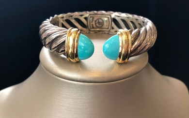 David Yurman Sterling Silver and 18k Yellow Gold Cable Cuff Bracelet
