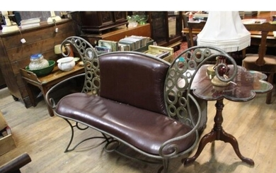 Decorative Ironwork 2 Seater Bench with Leather Seat