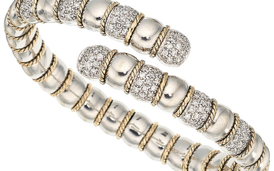 Diamond, Gold Bracelet The bracelet features full-cut diamonds weighing...