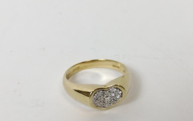 Diamond pave ring of concave heart shape, 9ct gold. Size 'M'...