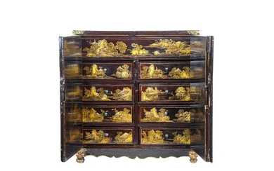 ENGLISH JAPANNED RED & GILT LACQUERED CABINET