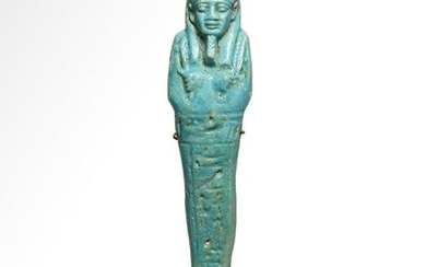 Egyptian Bright Turquoise Faience Shabti Inscribed to