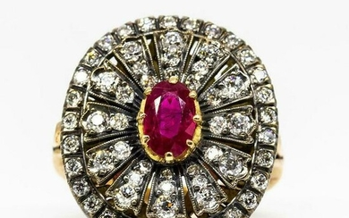 Enticing 18k Gold and Silver Burma Ruby and Diamonds