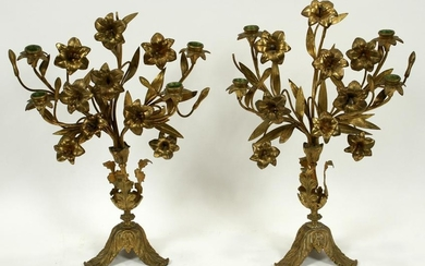 "FLOWER FORM BRASS CANDELABRUM, PAIR, H 21"", W 12"""