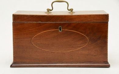 Federal mahogany and inlaid tea caddy with internal