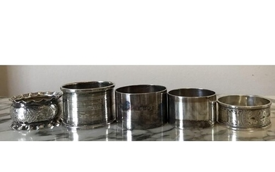 Five silver napkin rings, various dates and makers, 115.2 gm...