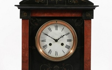 French Black Marble and Slate Mantle Clock with Rouge Marble Insert Panels (H:44cm,)