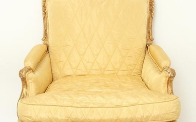 French Louis XV Bergere Gilt Wood Arm Chair