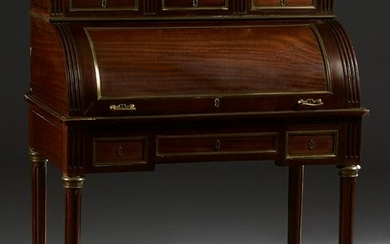French Louis XVI Brass Inlaid Marble Top Mahogany