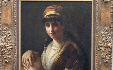 French school, 19th century, Oriental woman with tambourine,...