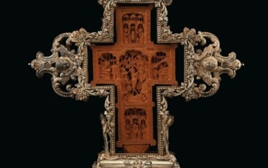 GREEK, 17TH OR 18TH CENTURY (CROSS), THE MOUNTS SOUTHERN ITALIAN, 18TH CENTURY, A SILVER-MOUNTED CARVED CYPRESSWOOD MT. ATHOS CROSS