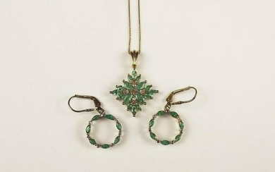 Gold Plated Emerald & Topaz Earrings And Pendant